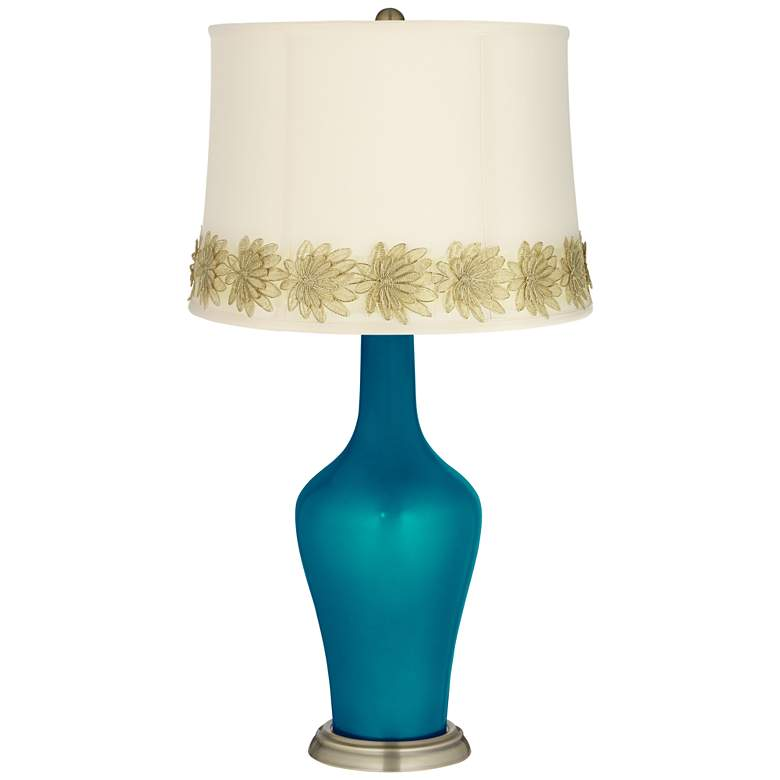 Turquoise Metallic Anya Table Lamp with Flower Applique Trim
