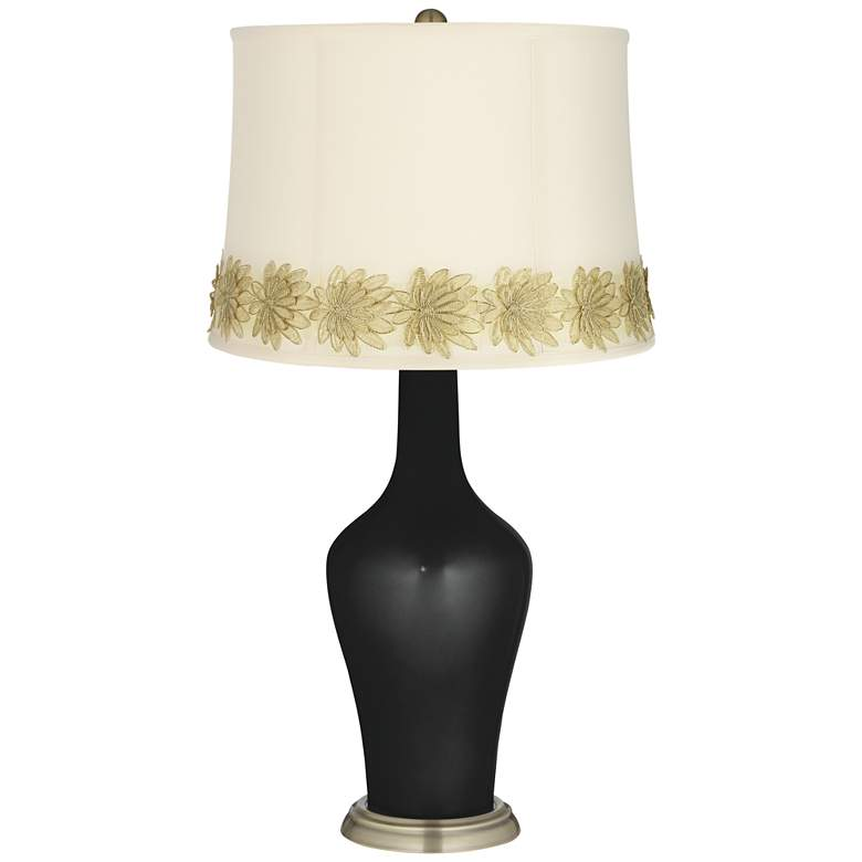 Caviar Metallic Anya Table Lamp with Flower Applique Trim