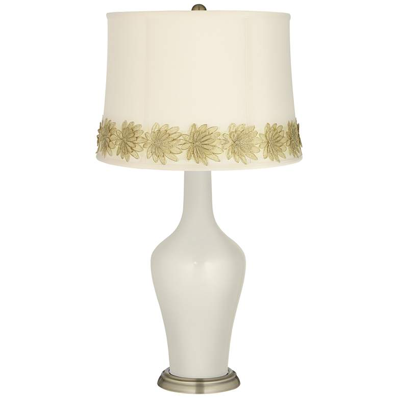 Vanilla Metallic Anya Table Lamp with Flower Applique Trim