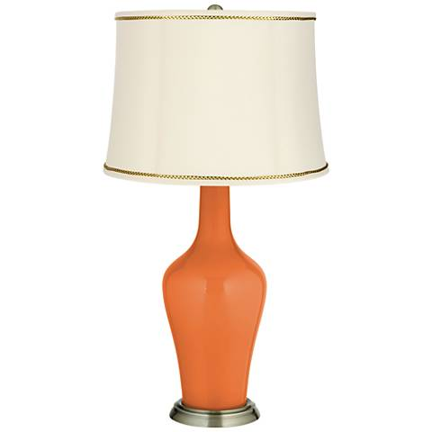 Celosia Orange Anya Table Lamp with President's Braid Trim