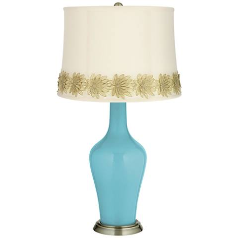 Nautilus Anya Table Lamp with Flower Applique Trim