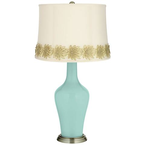 Cay Anya Table Lamp with Flower Applique Trim