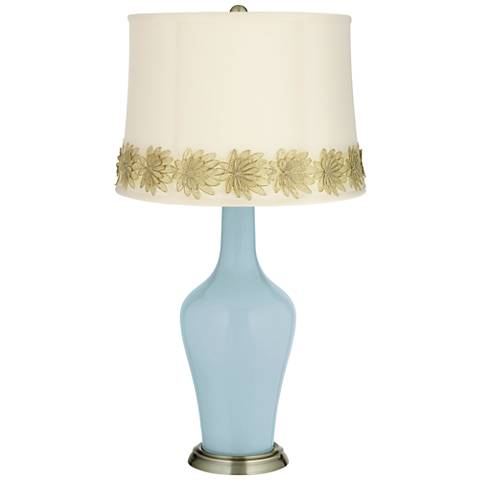 Vast Sky Anya Table Lamp with Flower Applique Trim