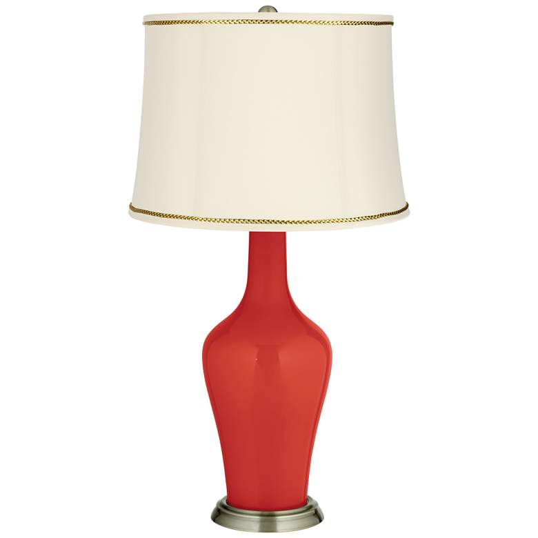 Cherry Tomato Anya Table Lamp with President's Braid Trim