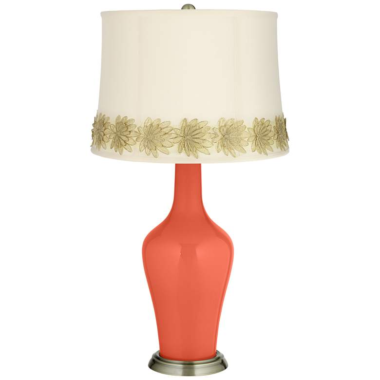 Daring Orange Anya Table Lamp with Flower Applique Trim