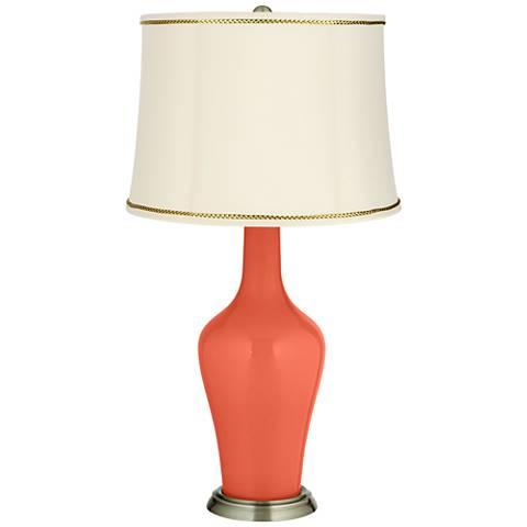 Daring Orange Anya Table Lamp with President's Braid Trim