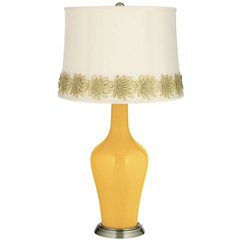 Goldenrod Anya Table Lamp with Flower Applique Trim