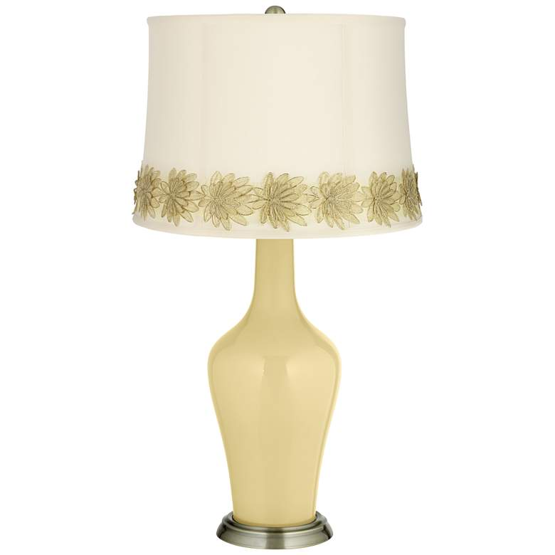 Butter Up Anya Table Lamp with Flower Applique Trim