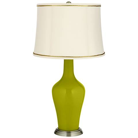 Olive Green Anya Table Lamp with President's Braid Trim