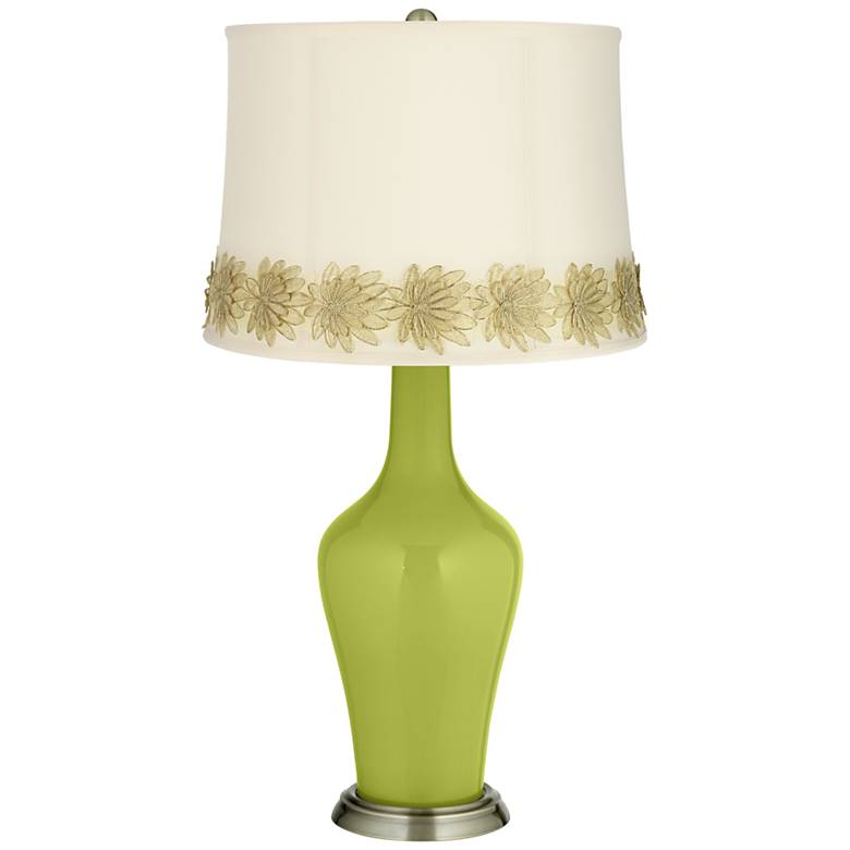 Parakeet Anya Table Lamp with Flower Applique Trim