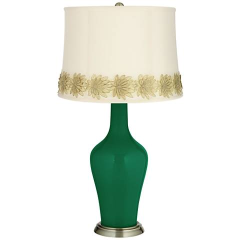 Greens Anya Table Lamp with Flower Applique Trim