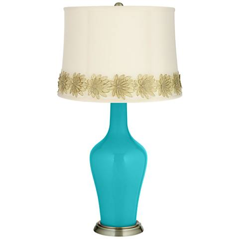 Surfer Blue Anya Table Lamp with Flower Applique Trim