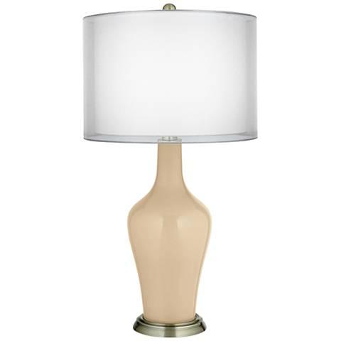 Colonial Tan Double Sheer Silver Shade Anya Table Lamp