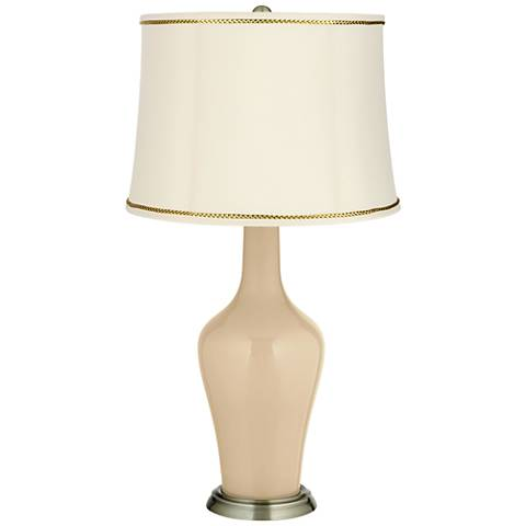 Colonial Tan Anya Table Lamp with President's Braid Trim
