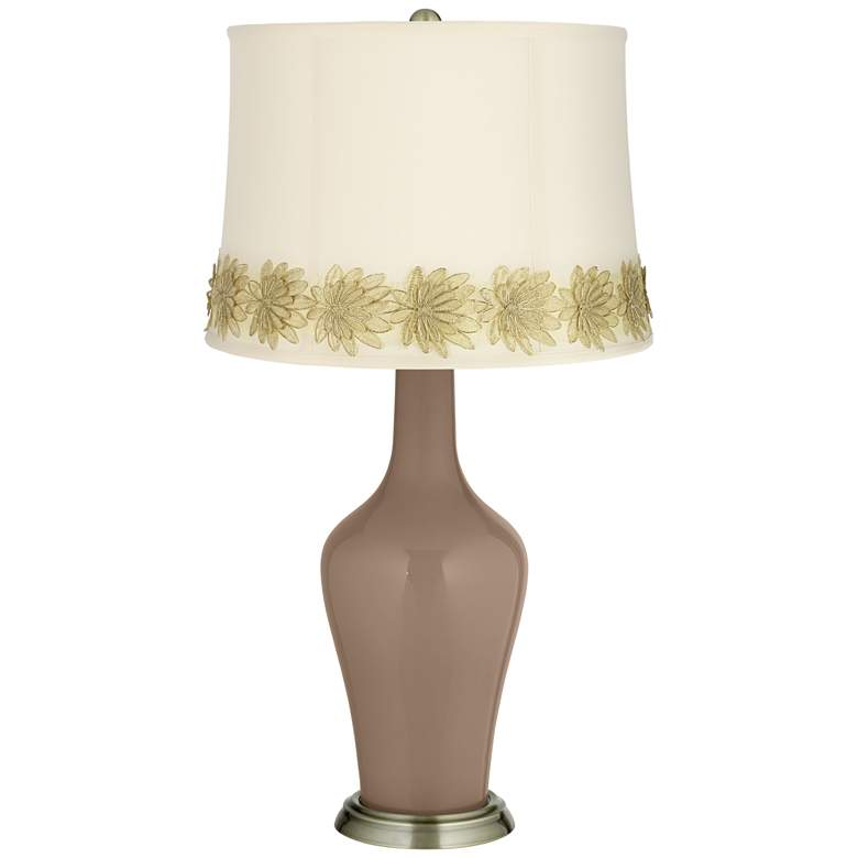 Mocha Anya Table Lamp with Flower Applique Trim