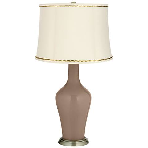 Mocha Anya Table Lamp with President's Braid Trim