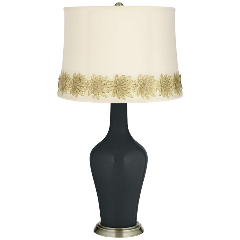 Black of Night Anya Table Lamp with Flower Applique Trim