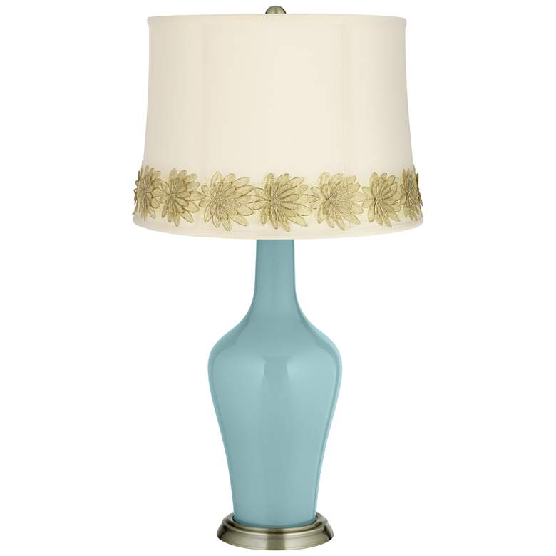 Raindrop Anya Table Lamp with Flower Applique Trim