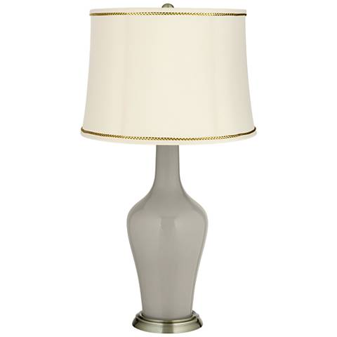 Requisite Gray Anya Table Lamp with President's Braid Trim