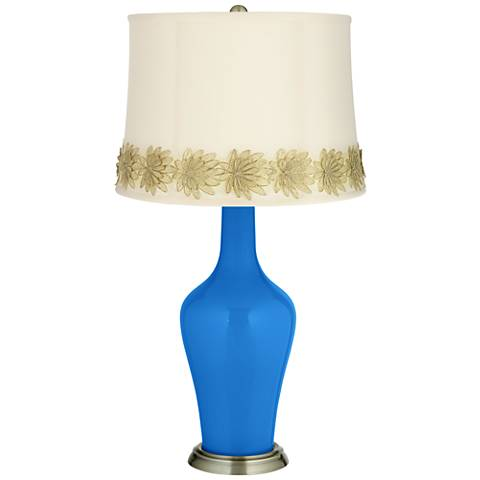 Royal Blue Anya Table Lamp with Flower Applique Trim