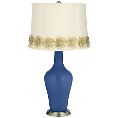 Monaco Blue Anya Table Lamp with Flower Applique Trim