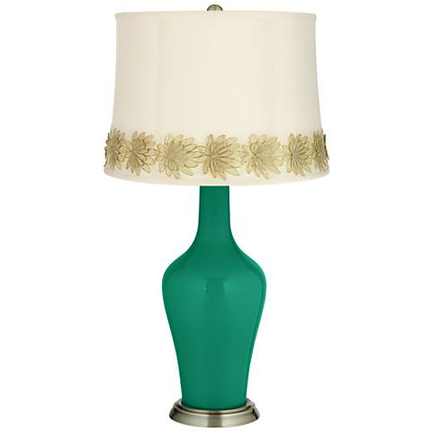 Leaf Green Anya Table Lamp with Flower Applique Trim