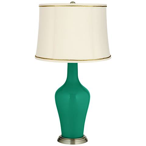 Leaf Green Anya Table Lamp with President's Braid Trim