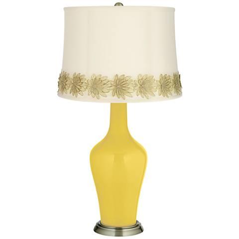 Lemon Zest Anya Table Lamp with Flower Applique Trim