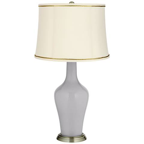 Swanky Gray Anya Table Lamp with President's Braid Trim