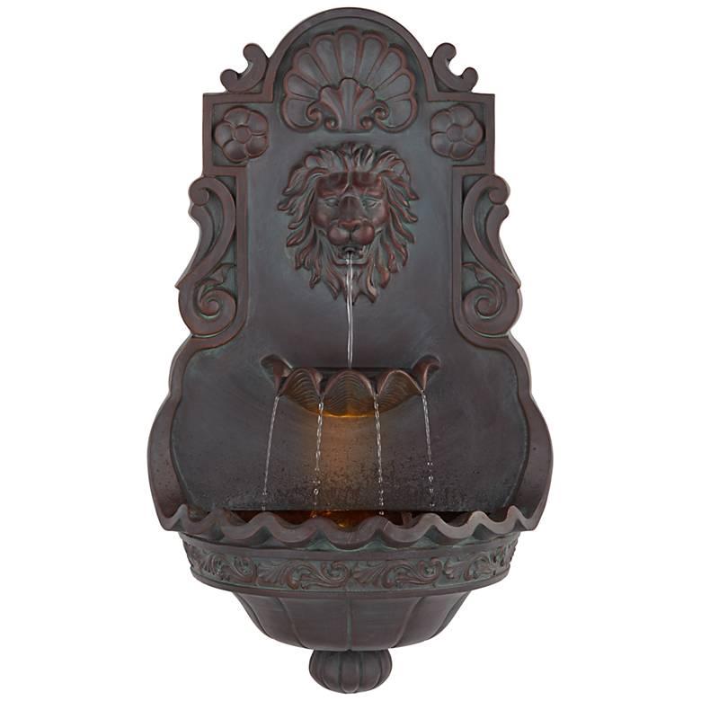 """Lion Head 31 1/2"""" High Indoor Outdoor Bronze Wall Fountain"""