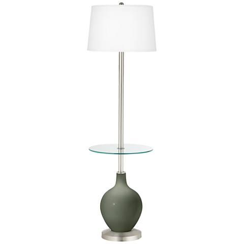 Deep Lichen Green Ovo Tray Table Floor Lamp