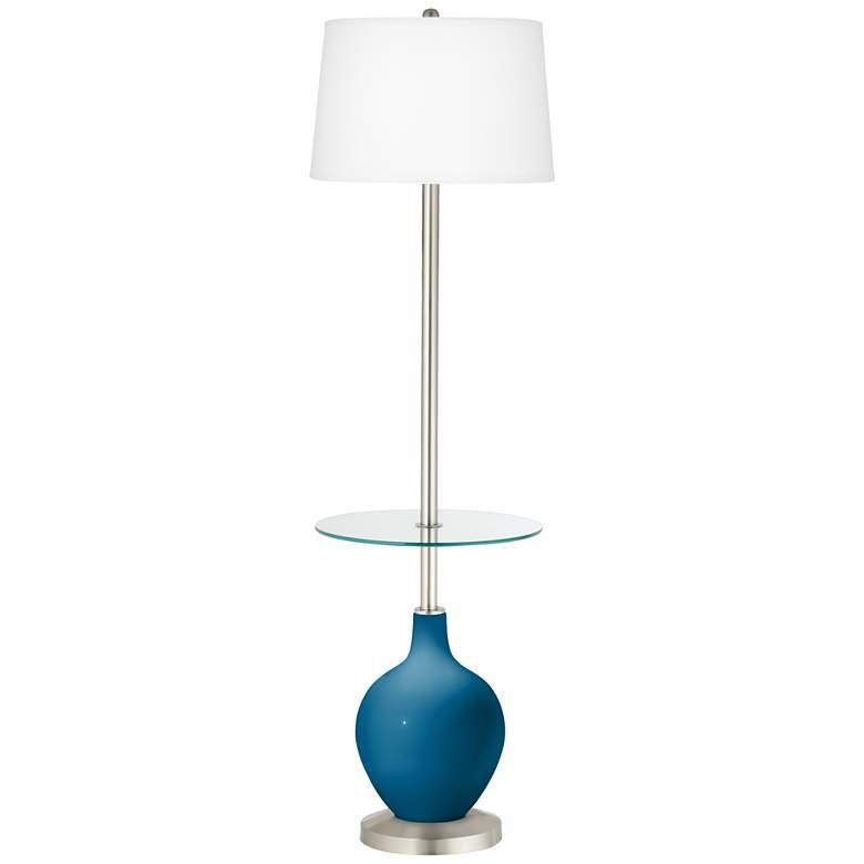 Mykonos Blue Ovo Tray Table Floor Lamp