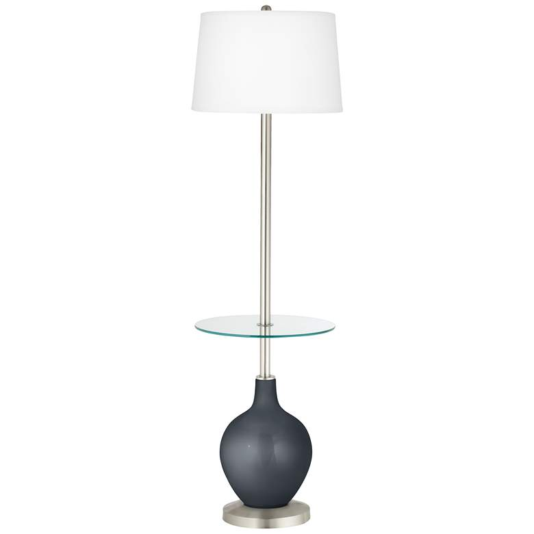 Gunmetal Metallic Ovo Tray Table Floor Lamp