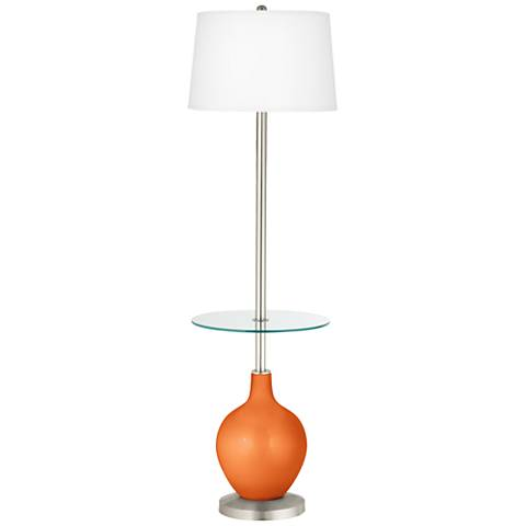 Burnt Orange Metallic Ovo Tray Table Floor Lamp
