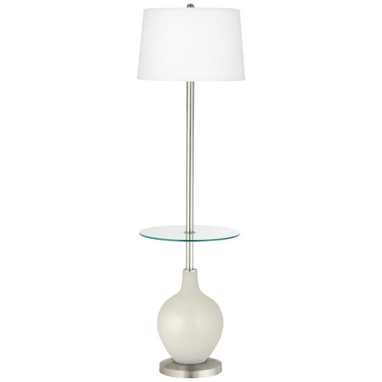 Vanilla Metallic Ovo Tray Table Floor Lamp
