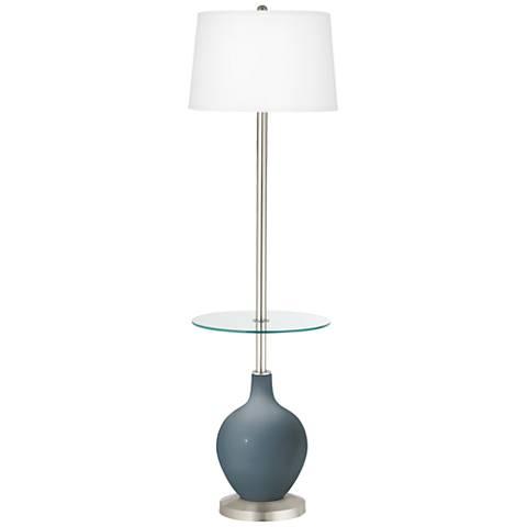 Smoky Blue Ovo Tray Table Floor Lamp