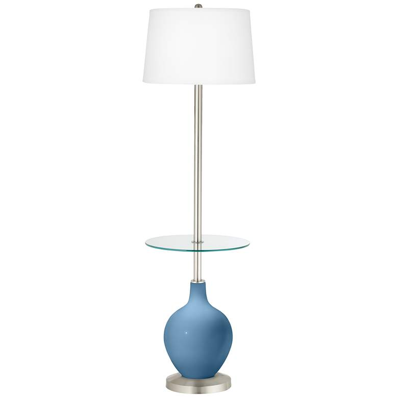 Secure Blue Ovo Tray Table Floor Lamp