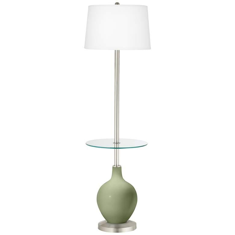 Majolica Green Ovo Tray Table Floor Lamp