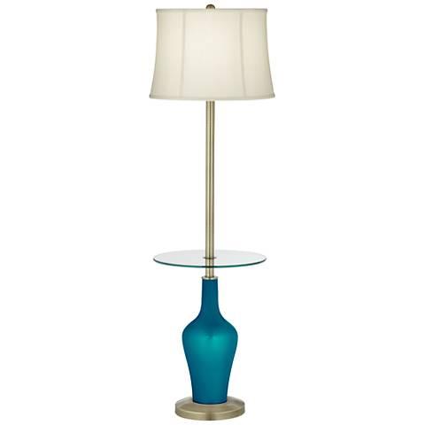 Turquoise Metallic Anya Tray Table Floor Lamp
