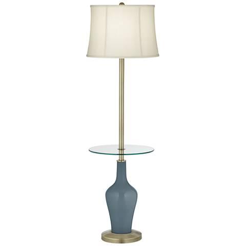 Smoky Blue Anya Tray Table Floor Lamp