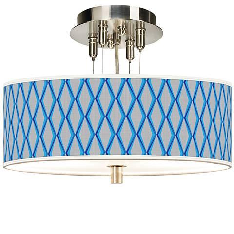 """Blue Matrix Giclee 14"""" Wide Ceiling Light"""