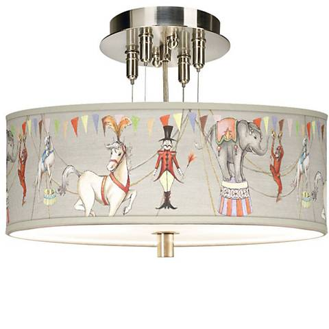 """Center Ring Circus Giclee 14"""" Wide Ceiling Light"""