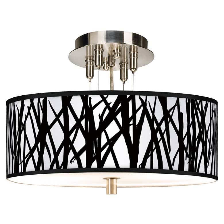 """Black Jagged Stripes Giclee 14"""" Wide Ceiling Light"""