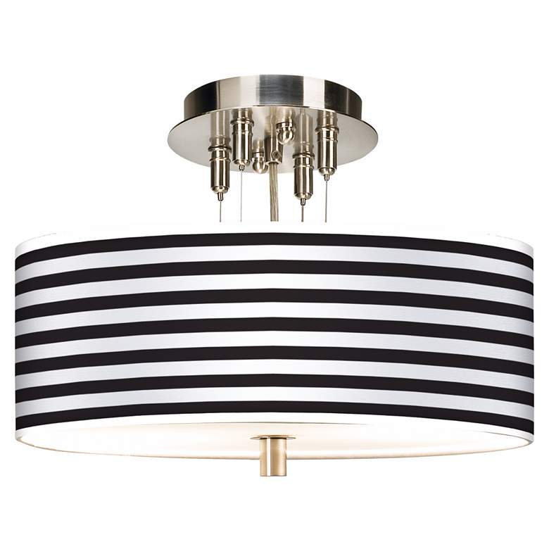"Black Horizontal Stripe Giclee 14"" Wide Ceiling Light"