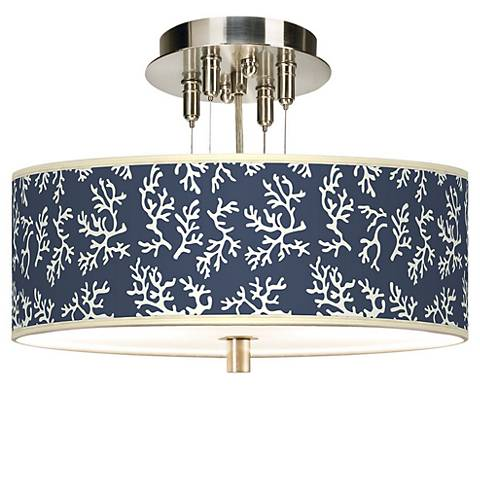 """Prussian Coral Giclee 14"""" Wide Ceiling Light"""