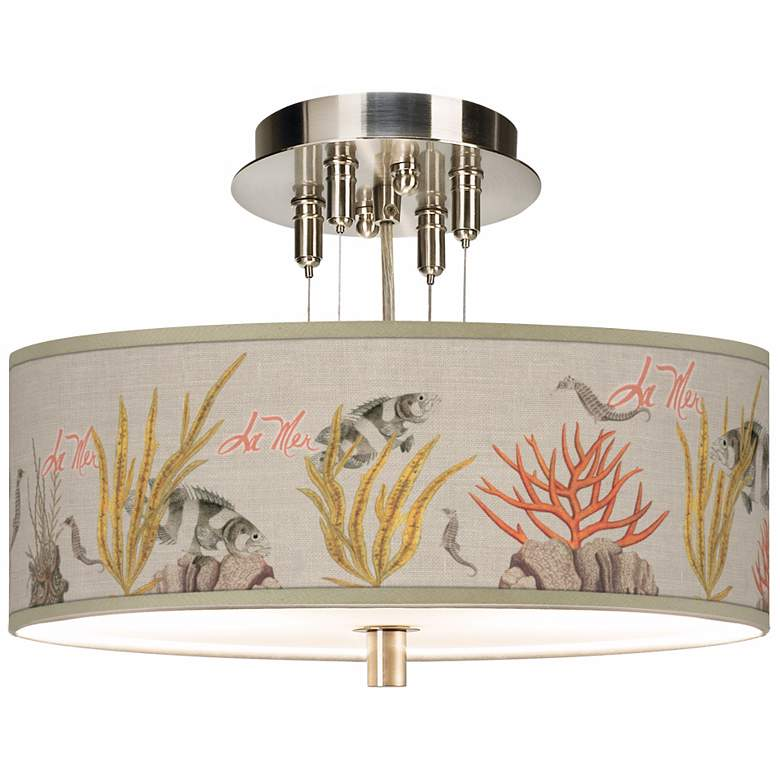 "La Mer Coral Giclee 14"" Wide Semi-Flush Ceiling"