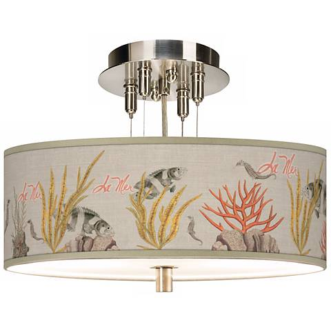 "La Mer Coral Giclee 14"" Wide Semi-Flush Ceiling Light"