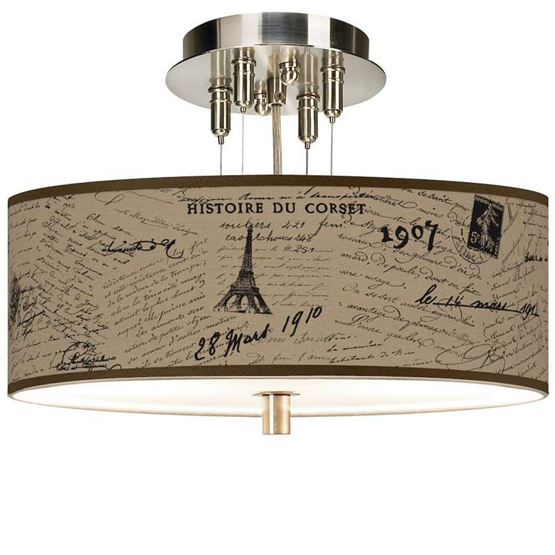 "Letters to Paris Giclee 14""W Semi-Flush Ceiling Light"
