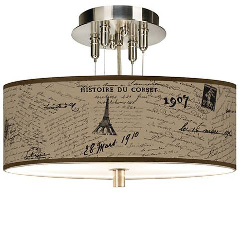 """Letters to Paris Giclee 14"""" Wide Semi-Flush Ceiling"""