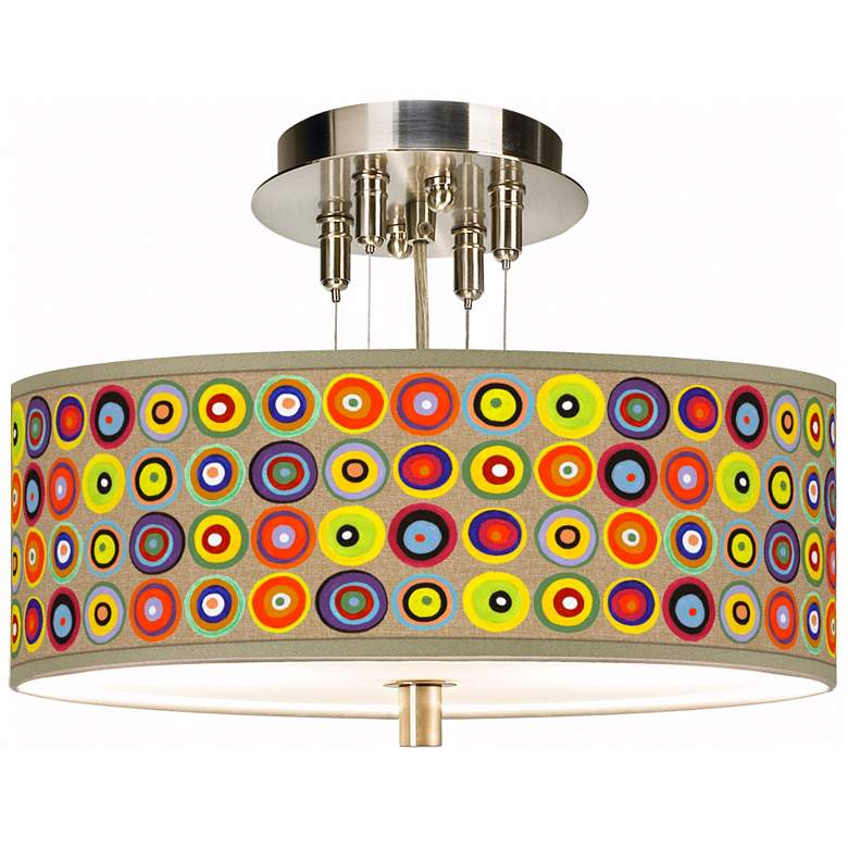 """Marbles in the Park Giclee 14"""" Wide Semi-Flush Ceiling Light"""